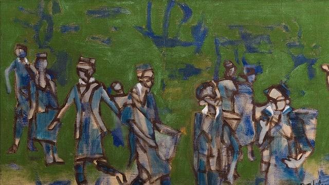 Grünes Ölgemälde mit abstrakten grau-blauen Personen.