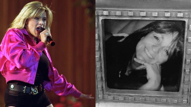 Splittscreen: Links Samantha Fox im kleinen Schwarzen mit pinker Jacke, rechts die verstorbene Freundin in einem Schwarz/Weiss-Porträt.