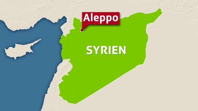 Karte von Syrien mit Fahne bei Aleppo
