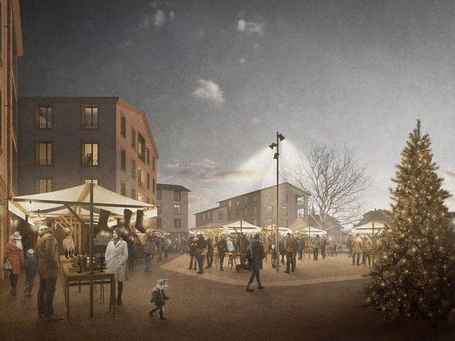 Weihnachtsmarkt auf einem Dorfplatz.