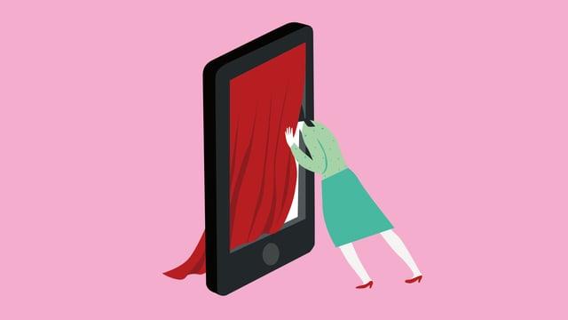 Eine Frau streckt ihren Kopf in einen Smartphone-Rahmen, der mit einem roten Vorhang bespannt ist.