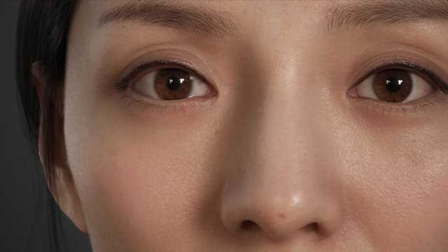 Eine Nahaufnahme der Augen- und Nasenpartie des digitalen weiblichen Avatars Siren.