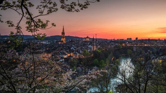 Blick vom Rosengarten in Bern Richtung Altstadt.