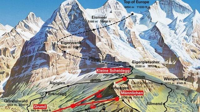 Karte der Jungfrauregion.