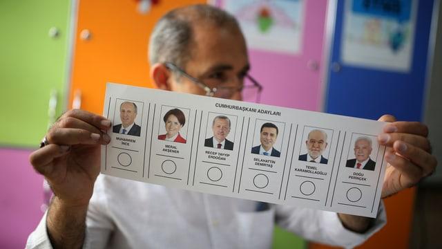 Mann hält Wahlzettel vor das Gesicht.