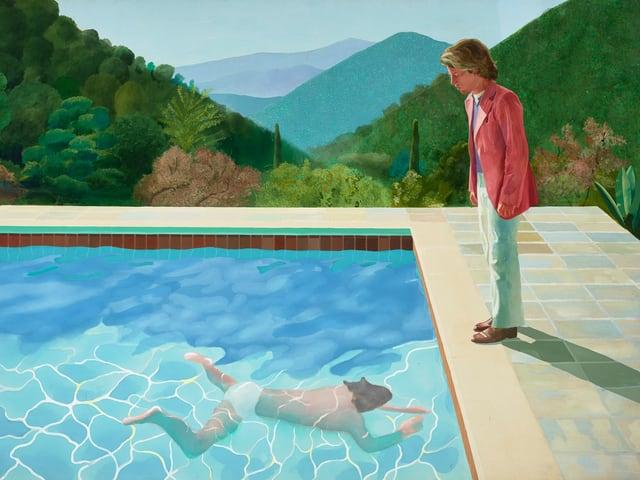 Ein Mann beim Schwimmen im Pool – ein anderer schaut ihm zu: Hockney-Gemälde «Portrait of an Artist (Pool with Two Figures)».