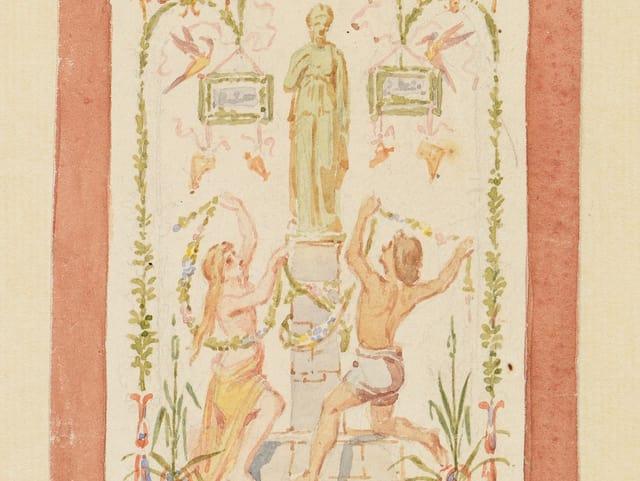 Gemälde: Androgynes Paar huldigt Urania (Statue auf Sockel), darüber zwei Vögel.