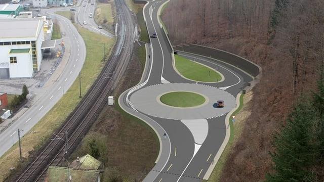 Visualisierung Strasse mit Kreisel.