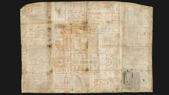 Foto eines alten Dokumentes. Zu erkennen sind Grundrisse der Bauten.