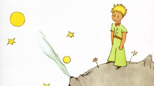 Der kleine Prinz steht auf seinem kleinen Planeten, um ihn herum sind Mond und Sterne zu sehen.