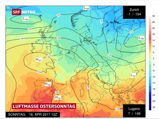 Europakarte mit der Temperaturverteilung in Europa.