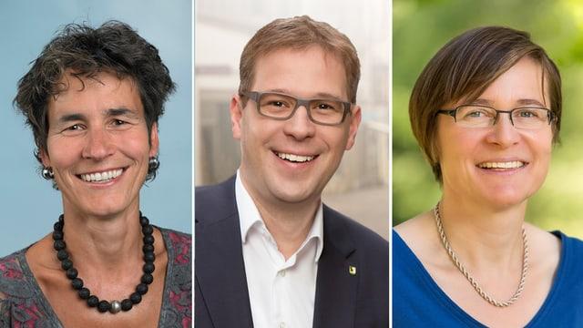 Müssen in den zweiten Wahlgang: Katrin Huber Ott (SP), Daniel Preisig (SVP), Katrin Bernath (GLP).