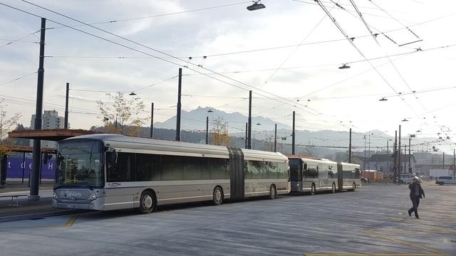 Zwei Gelenkbusse stehen am neuen Bushub in Emmenbrücke.