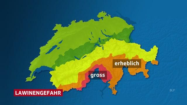 Karte der Schweiz mit der Lawinengefahr.