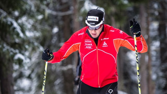 Dario Cologna beim Training in Davos.