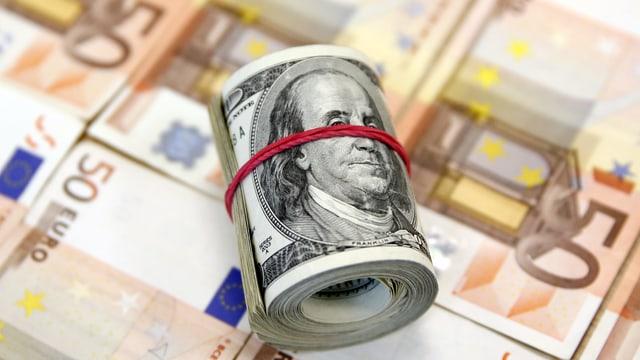 Euronoten und Dollarnoten.