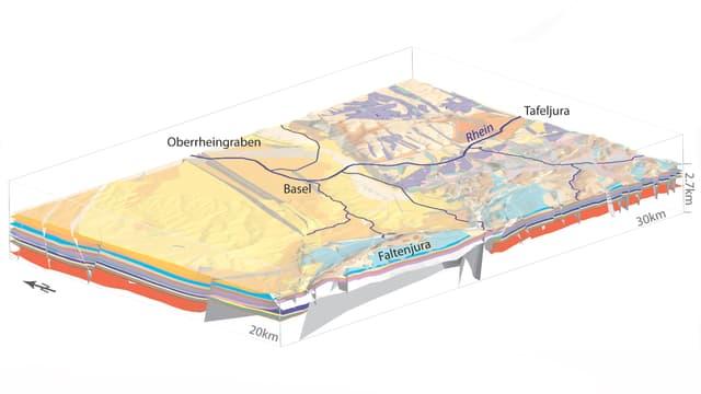Der Oberrheingraben im 3-D-Modell