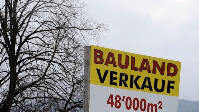 Schild: Bauland Verkauf