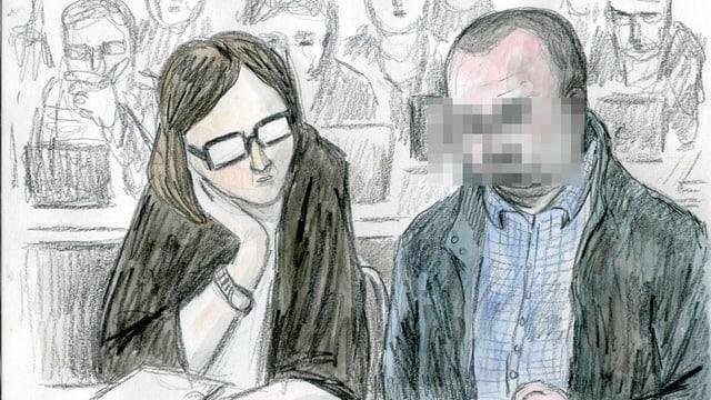 Der Angeklagte neben seiner Anwältin, Yael Hayat.