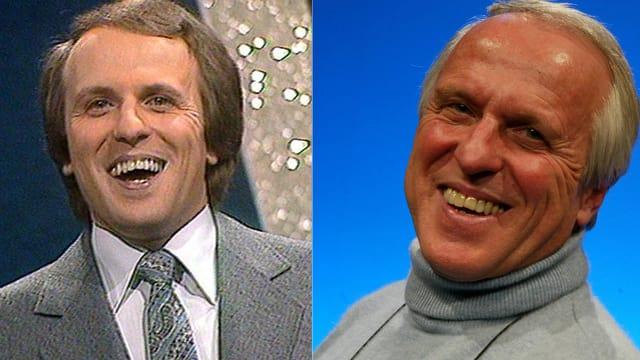 Zwei Bilder von Walter Andreas Müller. Auf beiden lächelt er. Das linke Bild stammt aus den 70er Jahren.