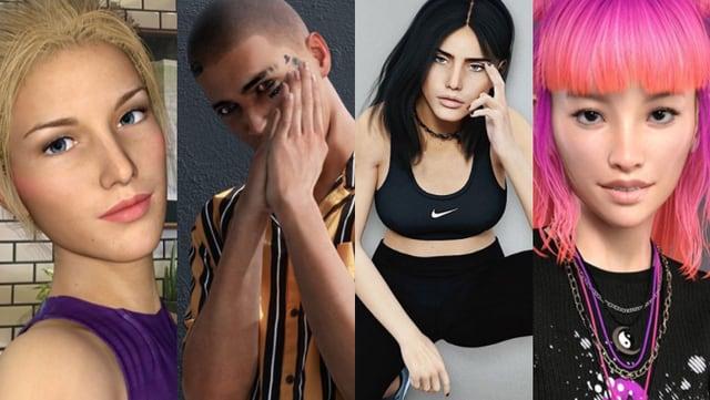 Die virtuellen Instagram-Persönlichkeiten Bermuda, Ronnie Blawko, Avalon und Zamin.