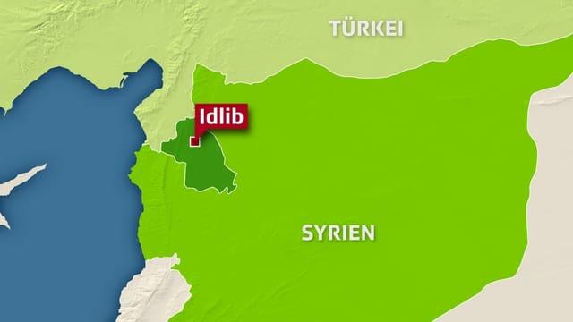 Karte von Syrien mit der Provinz und Stadt Idlib hervorgehoben.