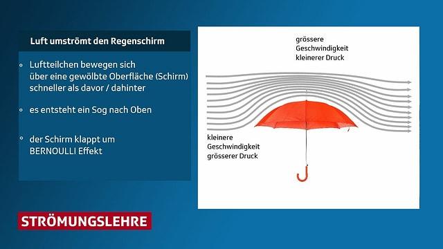 Schema des Bernoullieffektes an einem Regenschirm dargestellt.