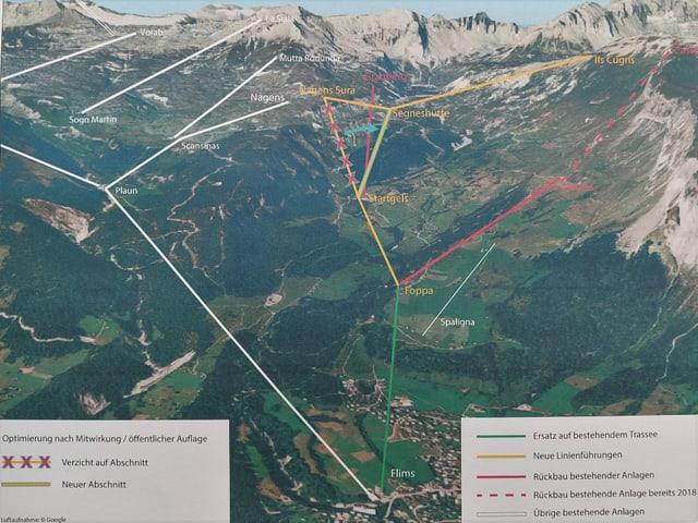 Carta geografica che mussa l'actala colliaziun da l'Arena Tectonica a Flem