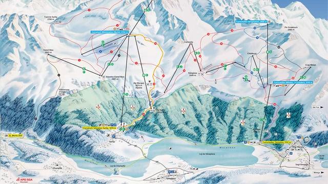 carta regiun da skis Corvatsch cun Silvaplauna