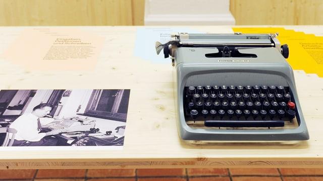 Schreibmaschine neben alten Fotos.