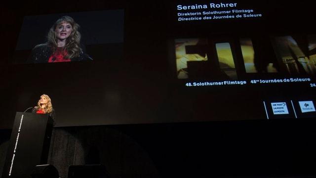 Logo der Filmtage anlässlich eines Referats der Direktorin Seraina Rohrer.