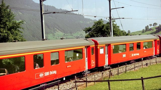 Ein Zug auf der Brünig-Bahnlinie.