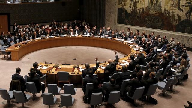 Il cussegl da segirezza da l'ONU durant la votaziun davart la resoluziun.