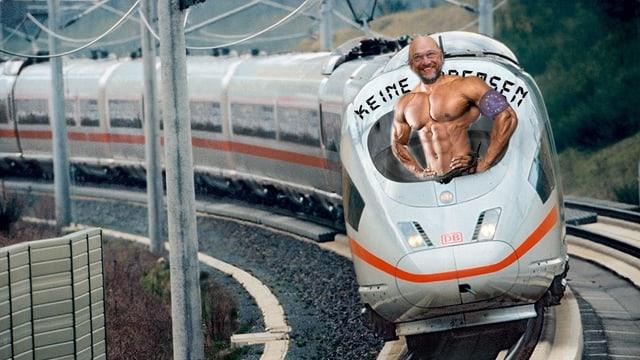 Fotomontage: Ein Mann mit Bodybuilder-Körper schaut aus dem Zug.
