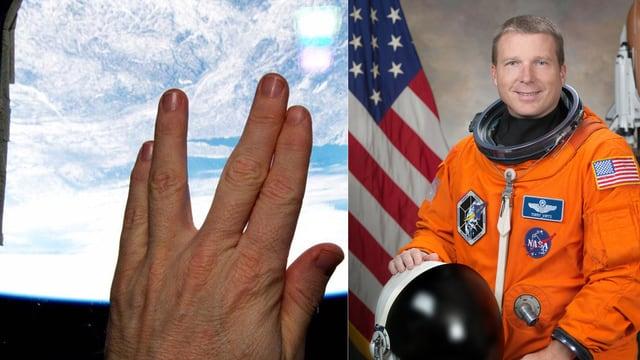 Eine Hand macht den Spock-Gruss, im Hintergrund sieht man die Erde aus dem All. Und ein Bild eines Astronauten im orangen Anzug.