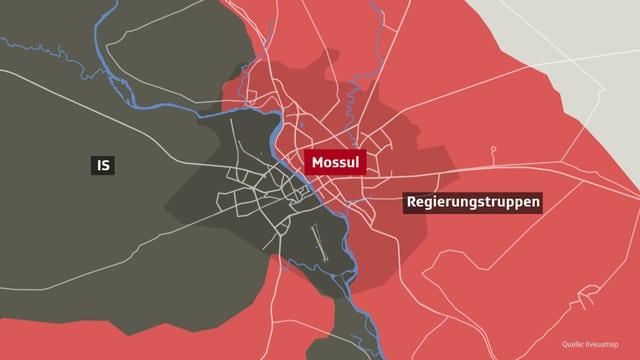 Eine Karte von Mossul
