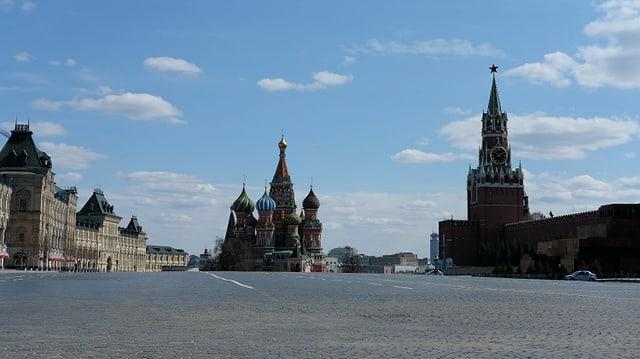 Leere Strassen in Moskau.