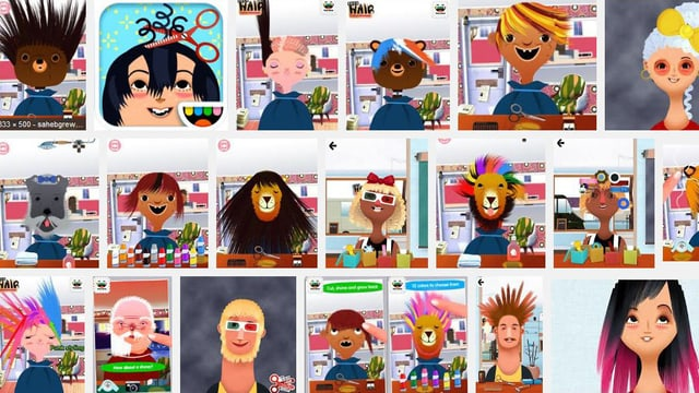 Ein Screenshot verschiedenster Screenshots aus Toca Boca Hair Salon.