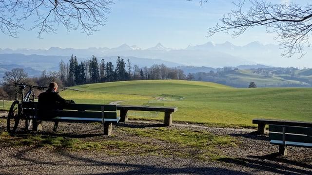 Blick vom Gurten in eine grüne Landschaft am 24. Dezember 2015