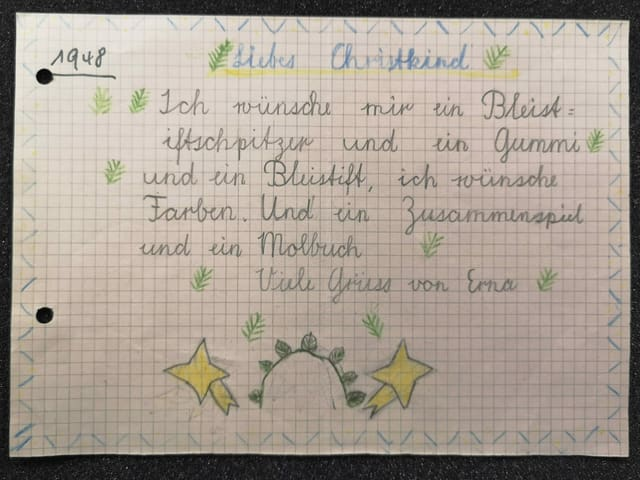 Wunschzettel eines Mädchen an das Chriskind.