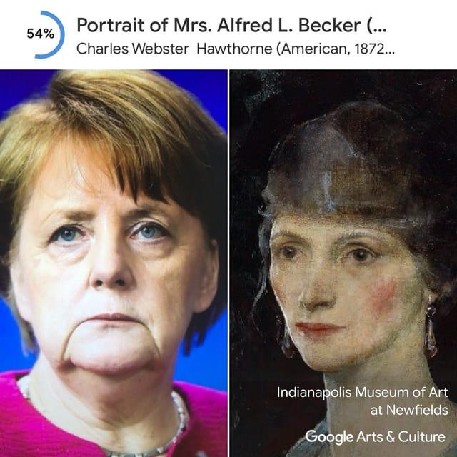 Ein Google Art Selfie mit Angela Merkel