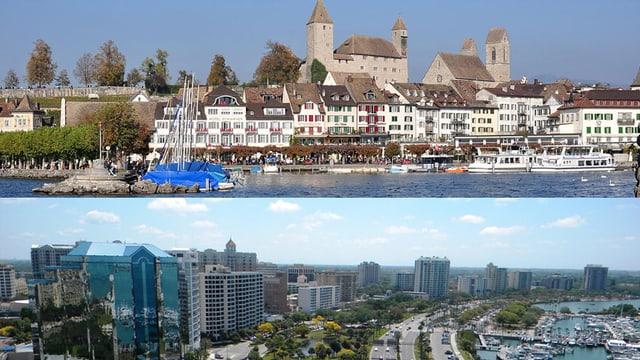 Oben Ansicht der Stadt Rapperswil-Jona, unten eine Ansicht von Sarasota