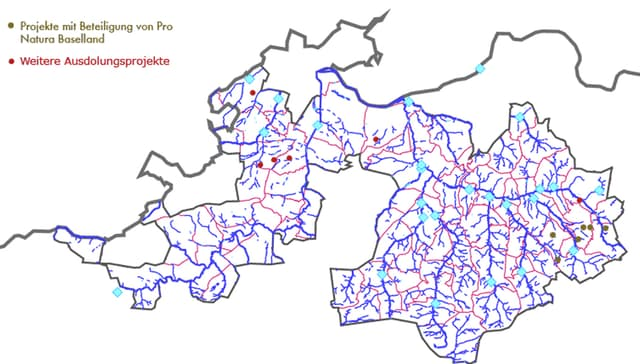 Karte mit Flussläufen