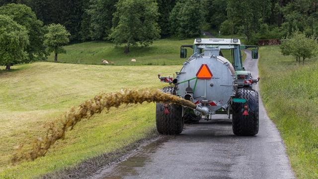 Traktor mit Güllenfass