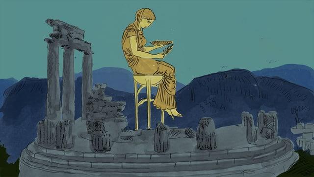 Illustration einer jungen Frau, die inmitteln antiker griechischer Überreste eines Hauses auf einem Hocker sitzt.