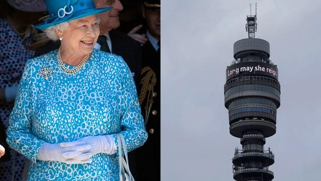 Zu Ehren der Queen leuchtet ein Schriftzug hoch über den Dächern von London.