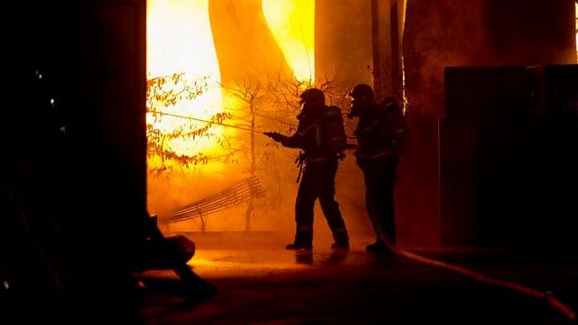Feuerwehrleute im Einsatz, Flammen