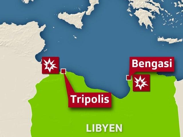 Kartenausschnitt, der die Städte Tripolis und Bengasi in Libyen hervorhebt.