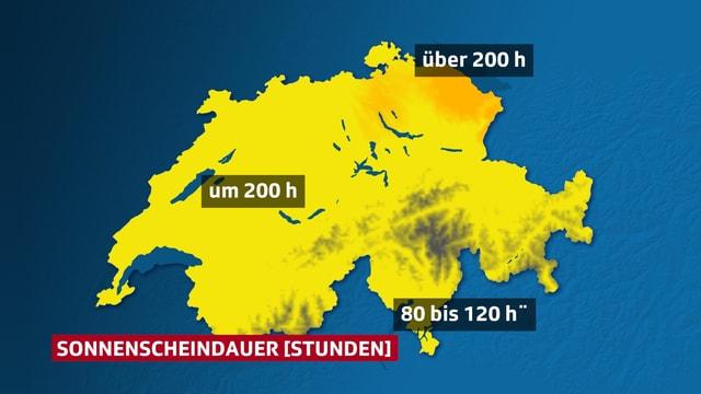 Verteilung der Sonnescheindauer auf der Schweizkarte mittels Farblächen. Spitzenreiter, Bodenseeraum (bis zum 29.05.2018)  mehr als 200 Stunden Sonneschein.