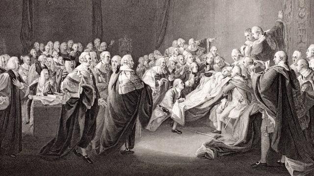 «The Death of the Earl of Chatham» als Stich in schwarz-weiss, massenhaft unter die Leute gebracht.
